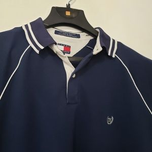 Tommy Hilfiger Mens Golf Polo Blue White Collar